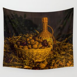 Still-life with nuts and wine Wall Tapestry
