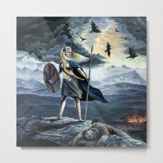 Valkyrie and Crows Metal Print