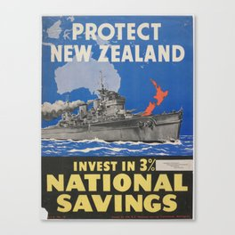 Poster, Protect New Zealand, June 1942, Wellington, by N.Z. National Savings Committee Canvas Print