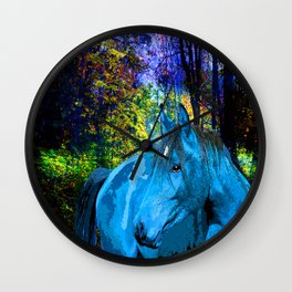 FANTASY HORSE BLUE I MET IN THE FOREST Wall Clock
