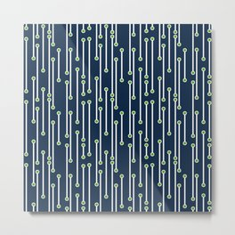 Dotted Lines in White, Lime and Navy Metal Print