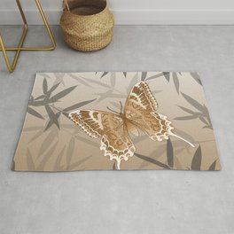 Beautiful Copper Butterfly Design Rug