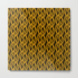Mystical iridescent gold rhombs and black triangles with square volume. Metal Print