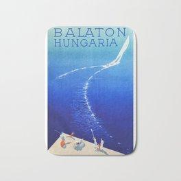 Budapest, Hungary, Balaton, vintage poster Bath Mat