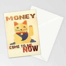 Maneki Neko - Money come to me now Stationery Cards