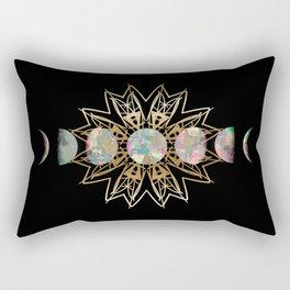 Opal Moon and Gold Stars Rectangular Pillow