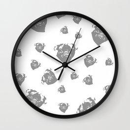 Pug Dog Grey Wall Clock