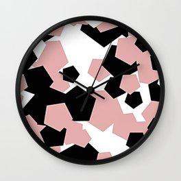 BLACK AND PINK ABSTRACT DRAWING Wall Clock
