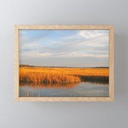 Golden Autumn Marsh, Coastal Ocean Landscape Framed Mini Art Print