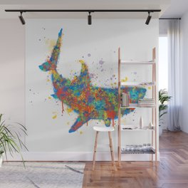 Splatter Paint Great White Shark Wall Mural
