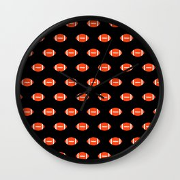 Florida fan university gators orange and blue college sports footballs pattern Wall Clock