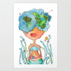 blue girl -- she's a gentle one. Art Print