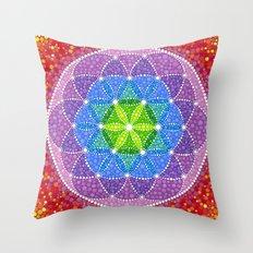 Rainbow Flower of Life Throw Pillow