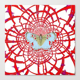 ARTISTIC RED-WHITE BUTTERFLY DREAM CATCHER WEB Canvas Print