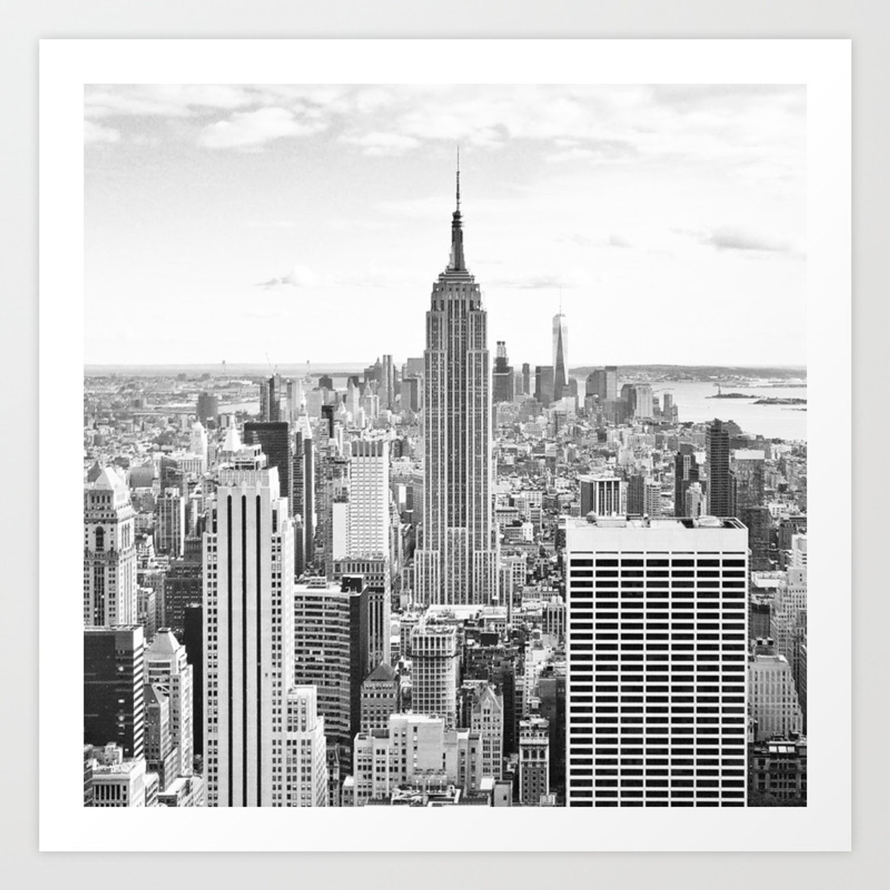 New york city manhattan black white art print