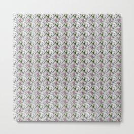 Garden Bloom - grass outlines black - repeating pattern Metal Print