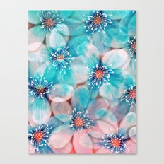 Flowers from Pink to Turquoise Canvas Print