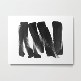 Black Brushstrokes Abstract Ink Painting - Horizontal Metal Print