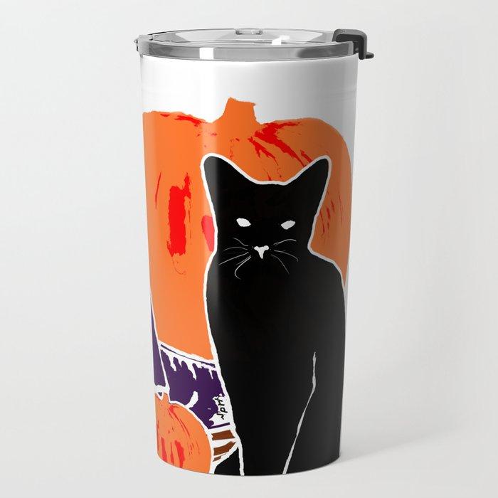 Witch Cat Pumpkin Woodcut Halloween Design Travel Mug