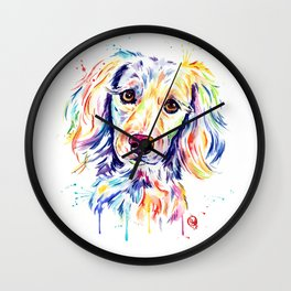 Colourful Pup Watercolor Pet Portrait Painting Wall Clock