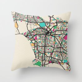 Colorful City Maps: Los Angeles, California Throw Pillow