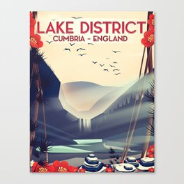 Lake district, Cumbira Travel poster. Canvas Print