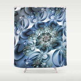 Dynamic Spiral, Abstract Fractal Art Shower Curtain