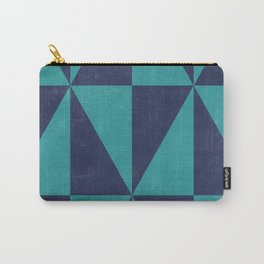 Geometric Triangle Pattern - Turquoise, Blue Carry-All Pouch