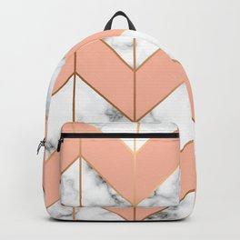 Marble texture, seamless pattern design with golden geometric lines Backpack