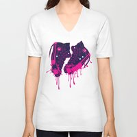 sneakers V-neck T-shirts featuring Love my dirty sneakers by Cindys