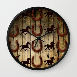 Horses and Horseshoes on Wood  backround Gifts Wall Clock