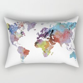 Watercolor world map | Rainbow map | Geography print Rectangular Pillow