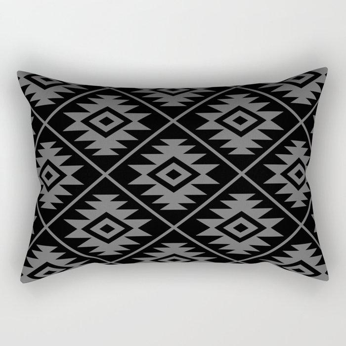 Aztec Symbol Pattern Gray on Black Rectangular Pillow