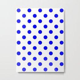 Polka Dots - Blue on White Metal Print
