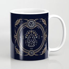 Virgo Zodiac Gold White on Black Background Coffee Mug