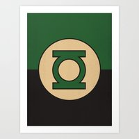 dc comics Art Prints featuring Green Lantern Logo Minimalist Art Print DC Comics by The Retro Inc