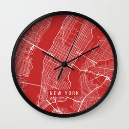 New York City Map, USA - Red Wall Clock