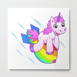 Unicorn Riding A Rainbow Jet Metal Print