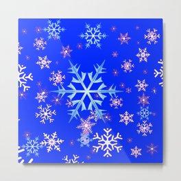 DECORATIVE BLUE  & WHITE SNOWFLAKES PATTERNED ART Metal Print