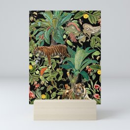 TIGER IN THE DARK JUNGLE Mini Art Print