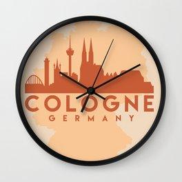 COLOGNE GERMANY CITY MAP SKYLINE EARTH TONES Wall Clock