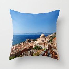 The Byzantine castle-town of Monemvasia in Greece Throw Pillow