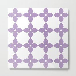Pastel Purple Flower Minimal Pattern Metal Print