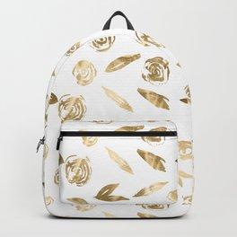 Gold Roses Rosette Pattern Golden on White Backpack