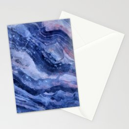 Blue watercolor marble Stationery Cards