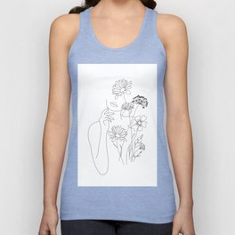 Minimal Line Art Woman with Flowers III Unisex Tanktop