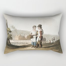 Illustration of factory children from The Costume of Yorkshire (1814) by George Walker (1781-1856) Rectangular Pillow