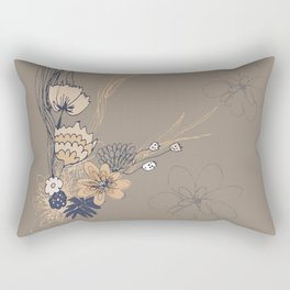 Taupe and Navy Line Art Flowers Rectangular Pillow