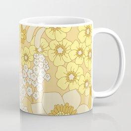 Yellow, Ivory & Brown Retro Floral Pattern Coffee Mug