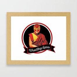 Wrestling Lama – Dalai Lama humor & Budism funny joke design Framed Art Print